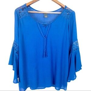 New Directions Rayon & Lace Flare Sleeve Blouse S